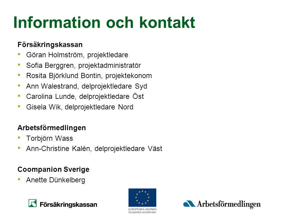 Information och kontakt Försäkringskassan • Göran Holmström, projektledare • Sofia Berggren, projektadministratör • Rosita Björklund Bontin, projektek