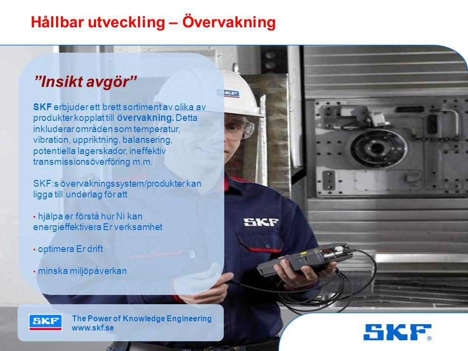 © SKF Group Slide 5October 30, 2007 © SKF Group Slide 5 Insikt avgör SKF erbjuder ett brett sortiment av olika av produkter kopplat till övervakning.