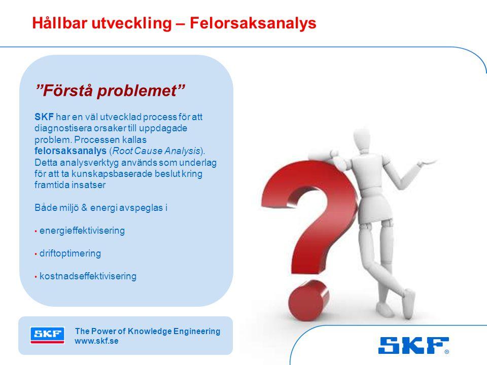 © SKF Group Slide 8October 30, 2007 © SKF Group Slide 8 Hållbar utveckling – Felorsaksanalys Förstå problemet SKF har en väl utvecklad process för att diagnostisera orsaker till uppdagade problem.