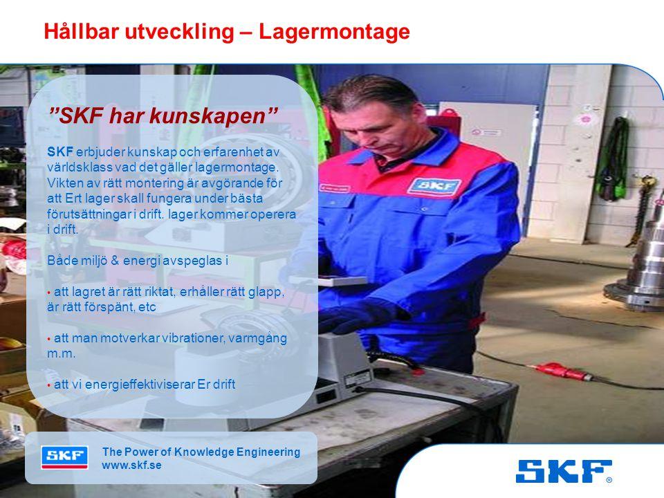 © SKF Group Slide 10October 30, 2007 © SKF Group Slide 10 Hållbar utveckling – Lagerrekonditionering Livslängd spar miljön SKF har en väl utarbetad rekonditioneringsprocess för att förlänga lagers livslängd, bespara miljön genom minskad materialåtgång samt kostnadseffektivisera Ert underhållsprogram SKF:s insats besparar både miljö & energi genom • förlängd lagerlivslängd • minskad miljöpåverkan i och med minskade transporter, material, etc • förbättrade lageregenskaper The Power of Knowledge Engineering www.skf.se