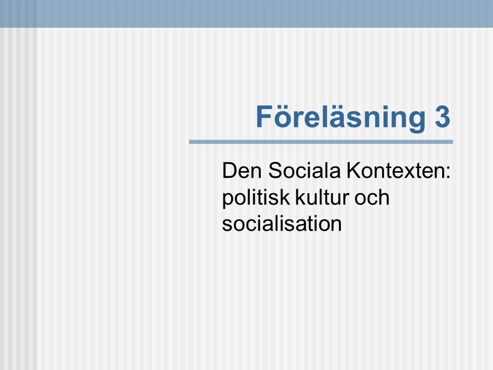Föreläsning 3 Den Sociala Kontexten: politisk kultur och socialisation
