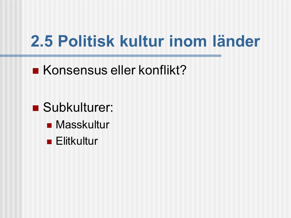 2.5 Politisk kultur inom länder  Konsensus eller konflikt?  Subkulturer:  Masskultur  Elitkultur