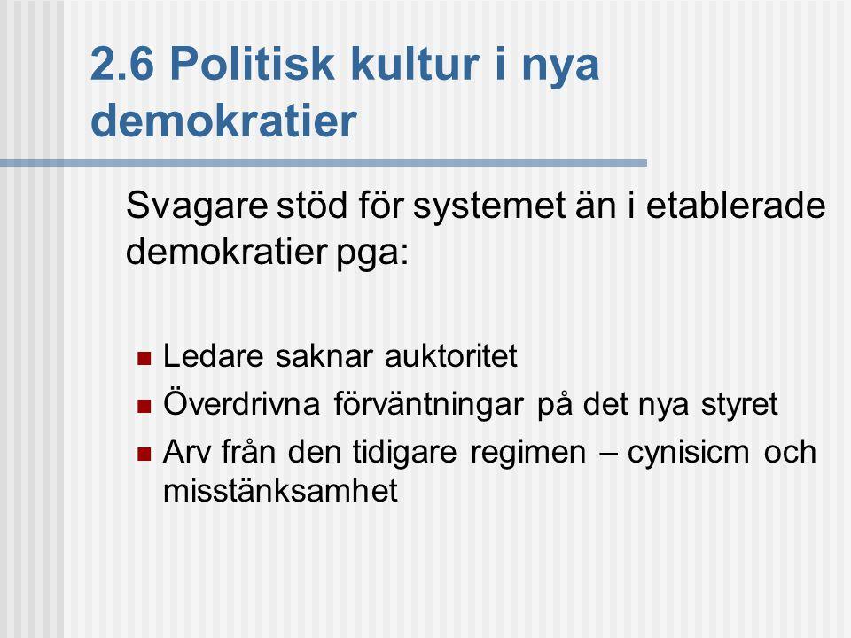 2.6 Politisk kultur i nya demokratier Svagare stöd för systemet än i etablerade demokratier pga:  Ledare saknar auktoritet  Överdrivna förväntningar