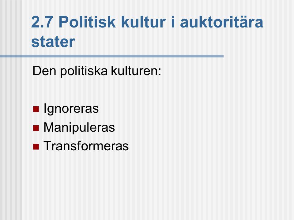 2.7 Politisk kultur i auktoritära stater Den politiska kulturen:  Ignoreras  Manipuleras  Transformeras