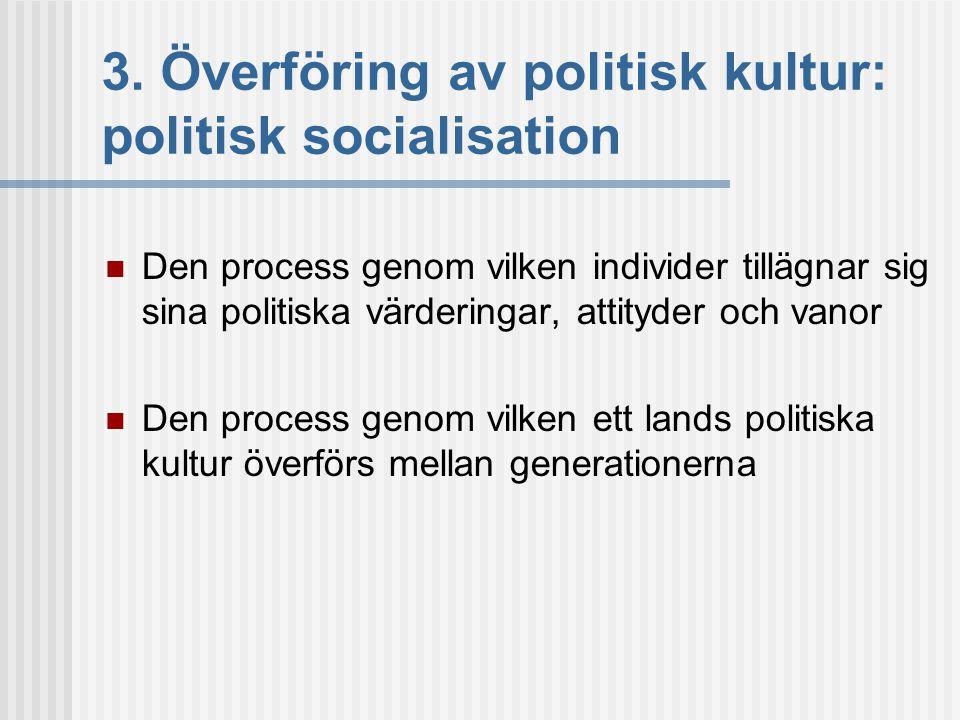 3. Överföring av politisk kultur: politisk socialisation  Den process genom vilken individer tillägnar sig sina politiska värderingar, attityder och