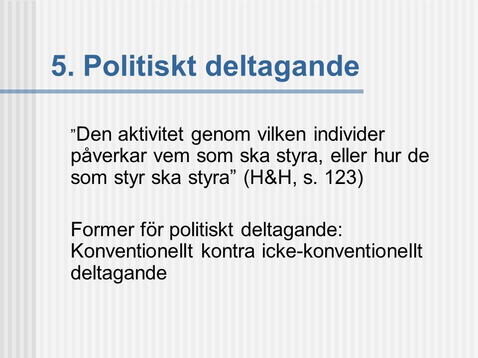 """5. Politiskt deltagande """" Den aktivitet genom vilken individer påverkar vem som ska styra, eller hur de som styr ska styra"""" (H&H, s. 123) Former för p"""
