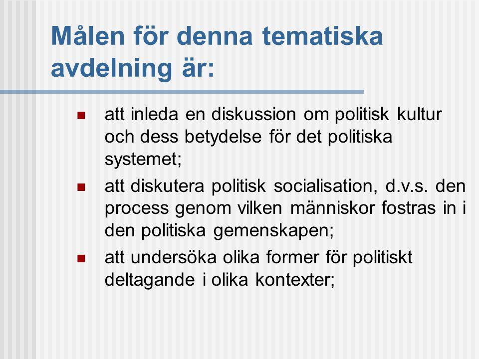 3.1 Socialisationsnivåer  Djup nivå: generella identifikationspunkter och övertygelser  Mellanliggande nivå: känslomässiga åsikter riktade mot politik i allmänhet och regeringsinstitutioner och aktörer i synnerhet.