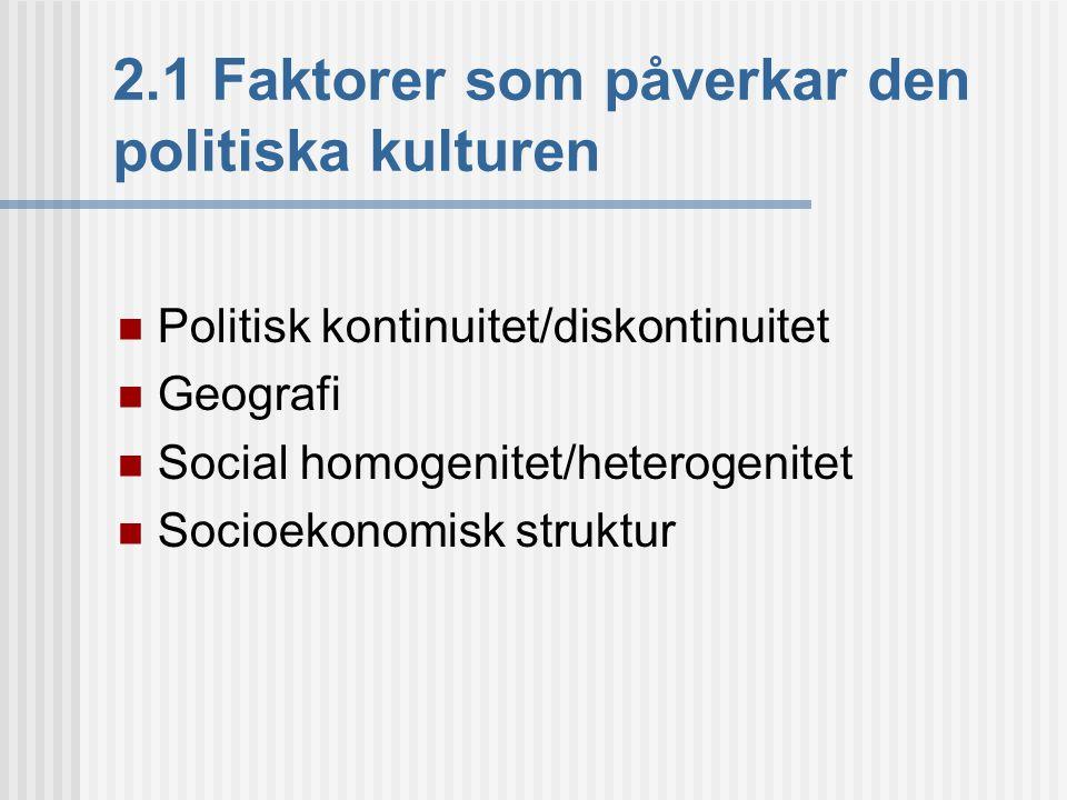 2.1 Faktorer som påverkar den politiska kulturen  Politisk kontinuitet/diskontinuitet  Geografi  Social homogenitet/heterogenitet  Socioekonomisk