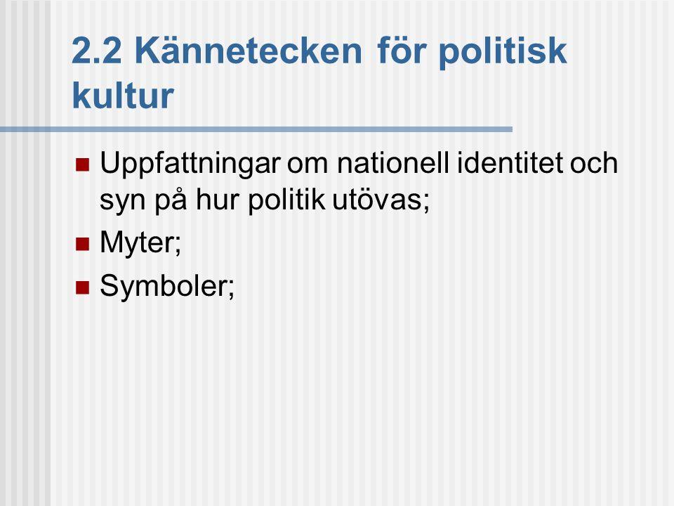 2.2 Kännetecken för politisk kultur  Uppfattningar om nationell identitet och syn på hur politik utövas;  Myter;  Symboler;