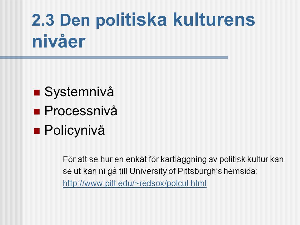 2.3 Den pol itiska kulturens nivåer  Systemnivå  Processnivå  Policynivå För att se hur en enkät för kartläggning av politisk kultur kan se ut kan