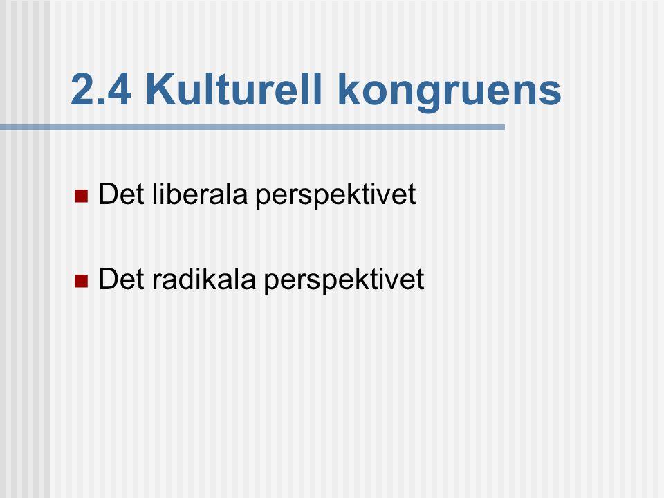 2.4 Kulturell kongruens  Det liberala perspektivet  Det radikala perspektivet