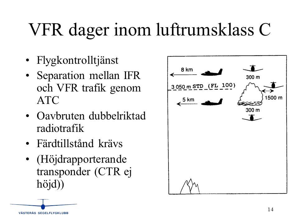 14 VFR dager inom luftrumsklass C •Flygkontrolltjänst •Separation mellan IFR och VFR trafik genom ATC •Oavbruten dubbelriktad radiotrafik •Färdtillstånd krävs •(Höjdrapporterande transponder (CTR ej höjd))