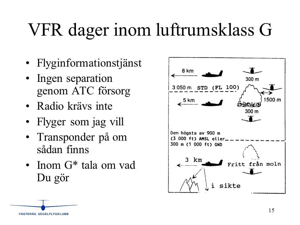 15 VFR dager inom luftrumsklass G •Flyginformationstjänst •Ingen separation genom ATC försorg •Radio krävs inte •Flyger som jag vill •Transponder på om sådan finns •Inom G* tala om vad Du gör