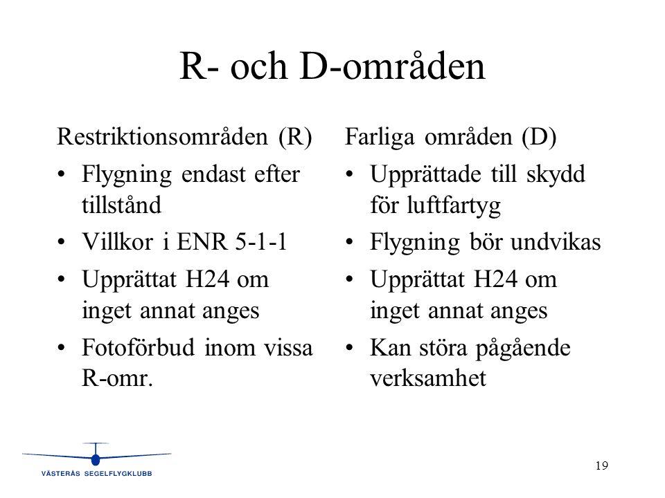 19 R- och D-områden Restriktionsområden (R) •Flygning endast efter tillstånd •Villkor i ENR 5-1-1 •Upprättat H24 om inget annat anges •Fotoförbud inom vissa R-omr.