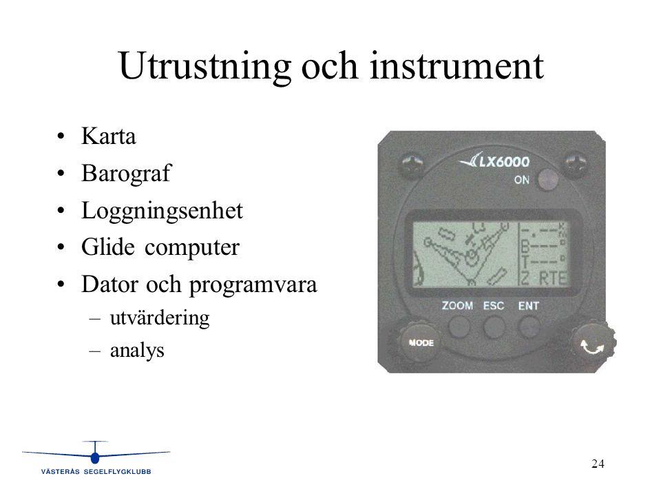 24 Utrustning och instrument •Karta •Barograf •Loggningsenhet •Glide computer •Dator och programvara –utvärdering –analys