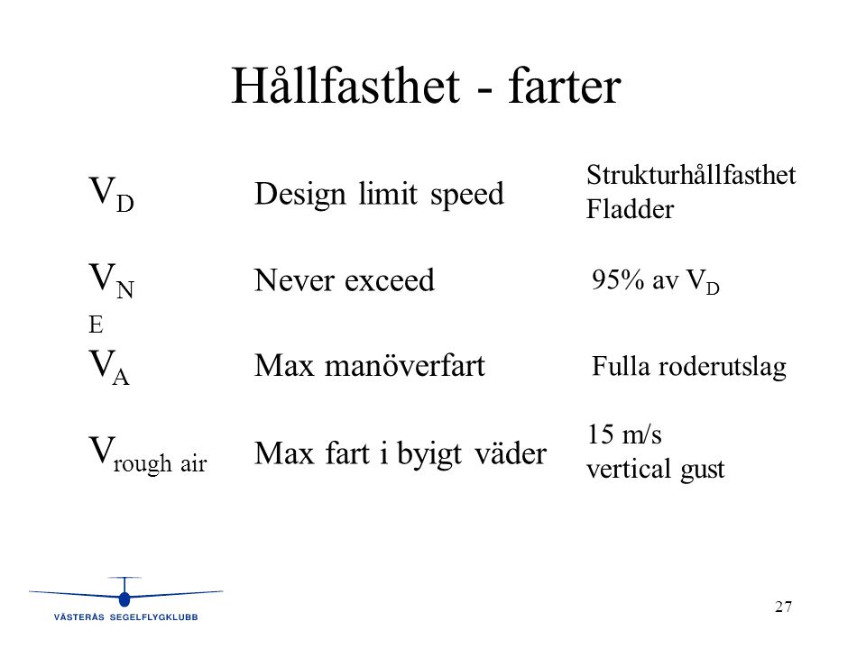 27 Hållfasthet - farter VNEVNE VAVA V rough air VDVD Design limit speed Never exceed Strukturhållfasthet Fladder 95% av V D Max manöverfart Fulla roderutslag Max fart i byigt väder 15 m/s vertical gust