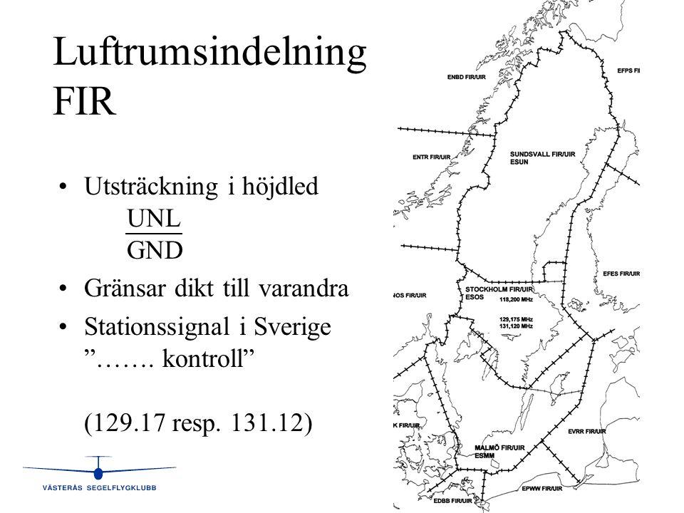 """5 Luftrumsindelning FIR •Utsträckning i höjdled UNL GND •Gränsar dikt till varandra •Stationssignal i Sverige """"……. kontroll"""" (129.17 resp. 131.12)"""