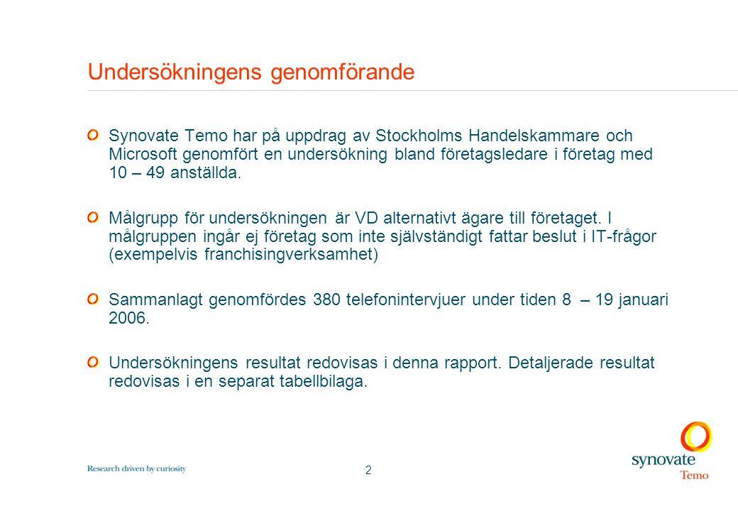 2 Undersökningens genomförande Synovate Temo har på uppdrag av Stockholms Handelskammare och Microsoft genomfört en undersökning bland företagsledare