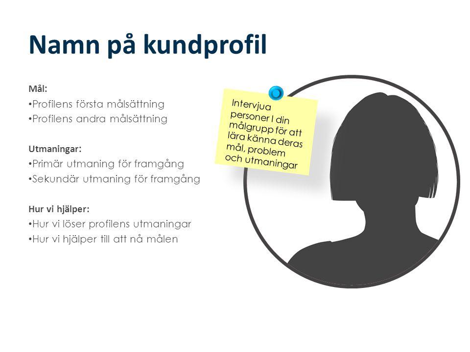Namn på kundprofil Mål : • Profilens första målsättning • Profilens andra målsättning Utmaningar : • Primär utmaning för framgång • Sekundär utmaning