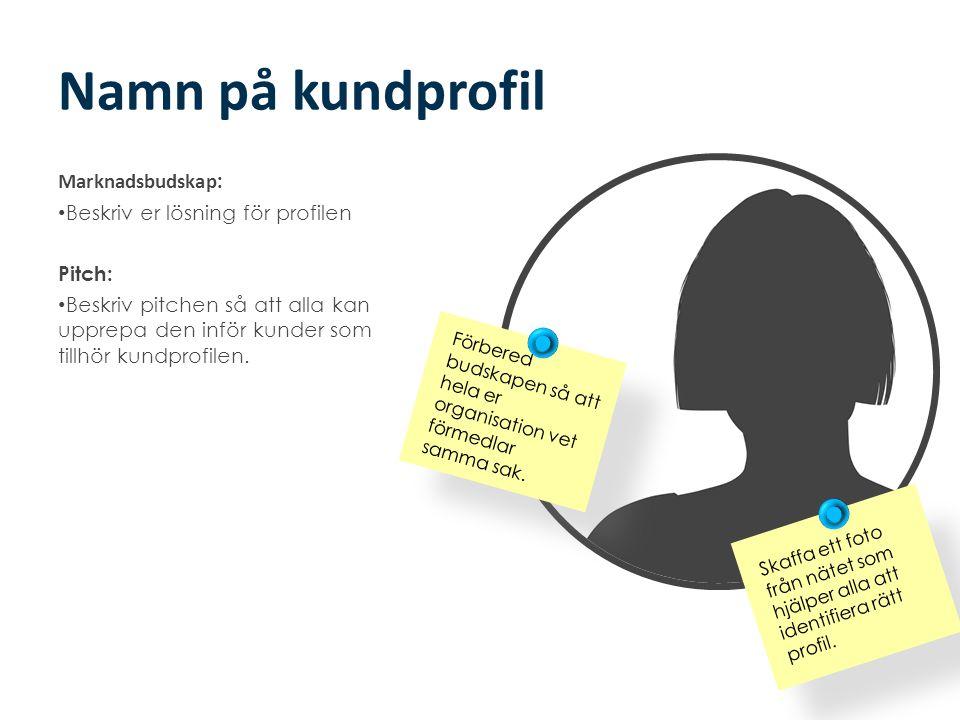 Namn på kundprofil Marknadsbudskap : • Beskriv er lösning för profilen Pitch: • Beskriv pitchen så att alla kan upprepa den inför kunder som tillhör k