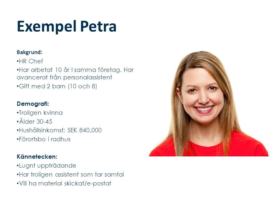 Exempel Petra Bakgrund : • HR Chef • Har arbetat 10 år I samma företag. Har avancerat från personalassistent • Gift med 2 barn (10 och 8) Demografi: •