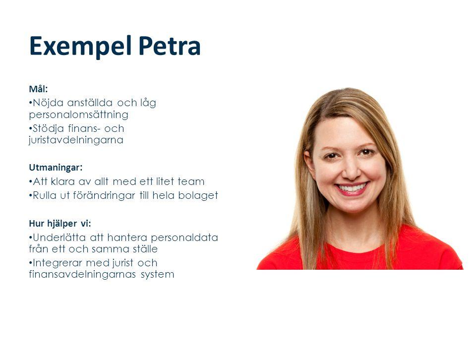 Exempel Petra Mål : • Nöjda anställda och låg personalomsättning • Stödja finans- och juristavdelningarna Utmaningar : • Att klara av allt med ett lit