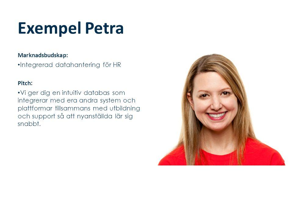 Exempel Petra Marknadsbudskap: • Integrerad datahantering för HR Pitch : • Vi ger dig en intuitiv databas som integrerar med era andra system och plat