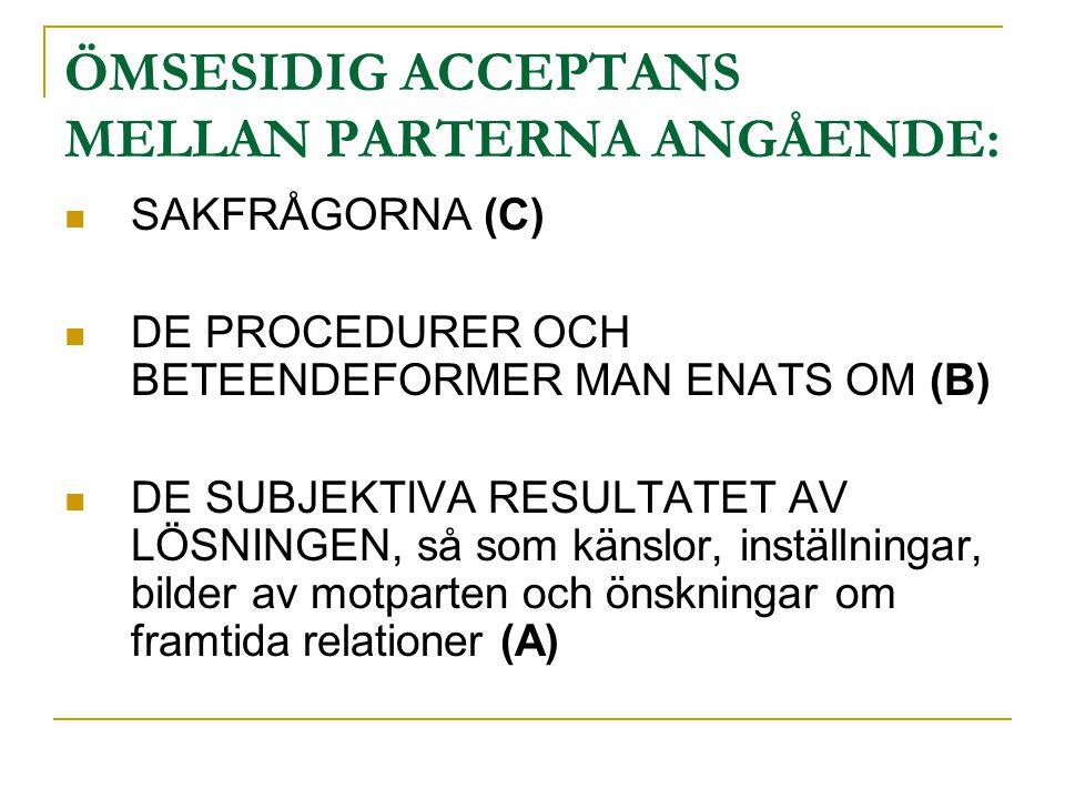 ÖMSESIDIG ACCEPTANS MELLAN PARTERNA ANGÅENDE:  SAKFRÅGORNA (C)  DE PROCEDURER OCH BETEENDEFORMER MAN ENATS OM (B)  DE SUBJEKTIVA RESULTATET AV LÖSN