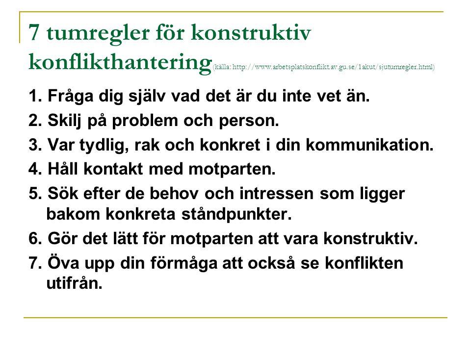 7 tumregler för konstruktiv konflikthantering (källa: http://www.arbetsplatskonflikt.av.gu.se/1akut/sjutumregler.html) 1. Fråga dig själv vad det är d