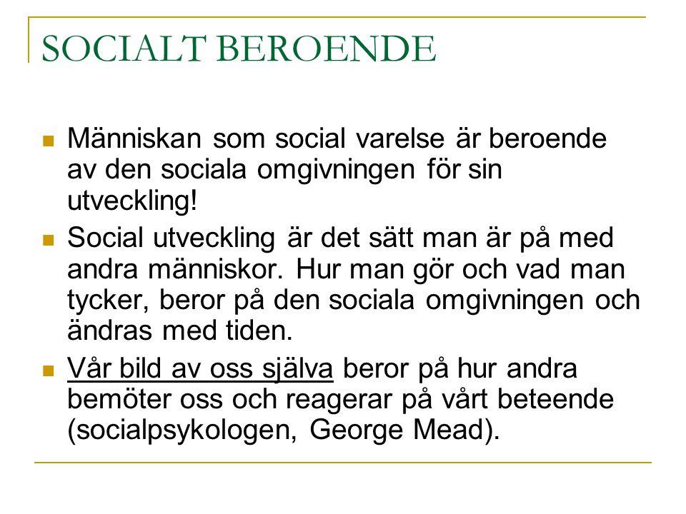 SOCIALT BEROENDE  Människan som social varelse är beroende av den sociala omgivningen för sin utveckling!  Social utveckling är det sätt man är på m
