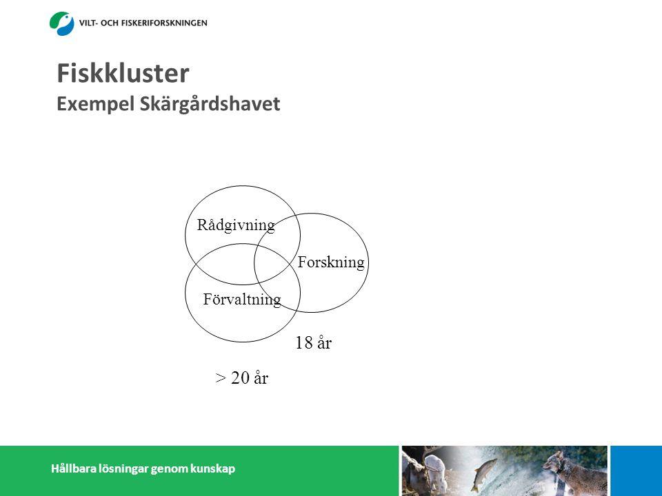Hållbara lösningar genom kunskap Fiskkluster Exempel Skärgårdshavet Förvaltning Rådgivning > 20 år Forskning 18 år