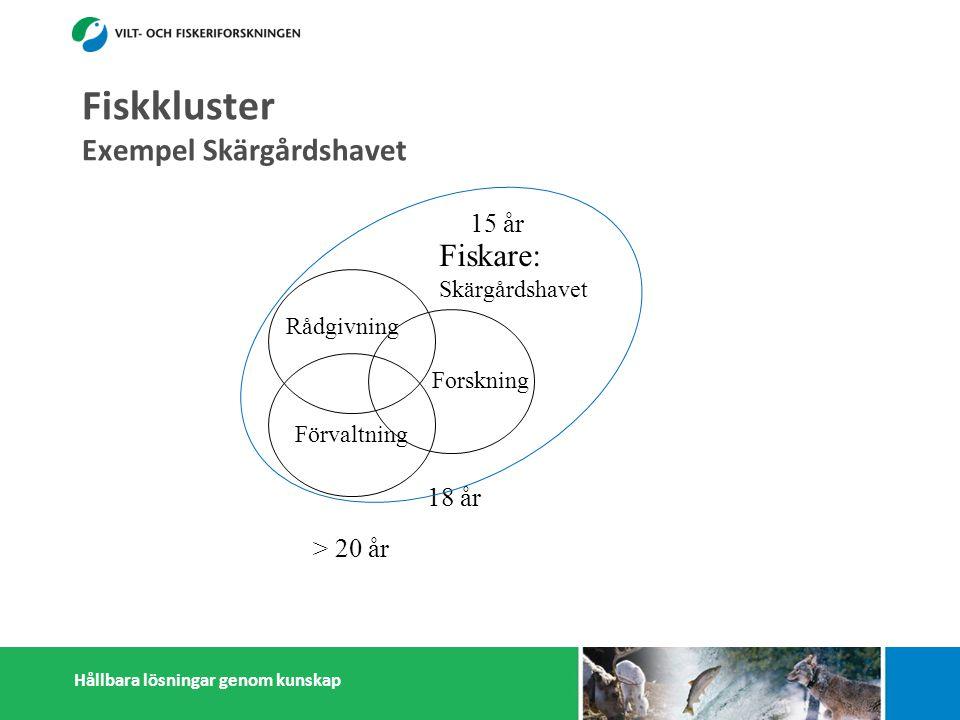 Hållbara lösningar genom kunskap Förvaltning Rådgivning > 20 år Forskning 18 år Fiskare: Skärgårdshavet 15 år Fiskkluster Exempel Skärgårdshavet