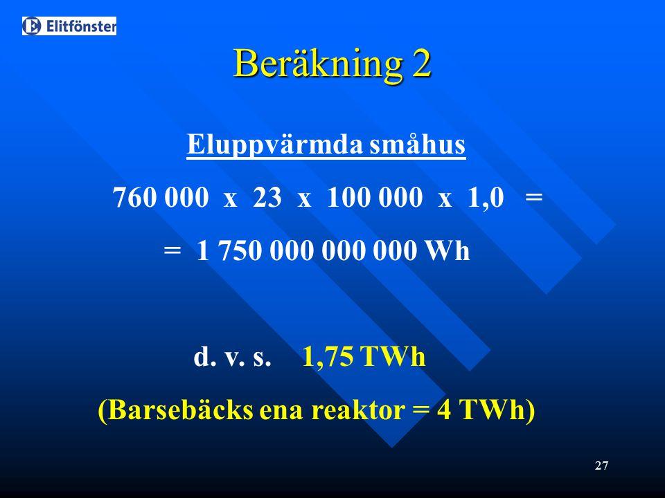 27 Beräkning 2 Eluppvärmda småhus 760 000 x 23 x 100 000 x 1,0 = = 1 750 000 000 000 Wh d. v. s. 1,75 TWh (Barsebäcks ena reaktor = 4 TWh)