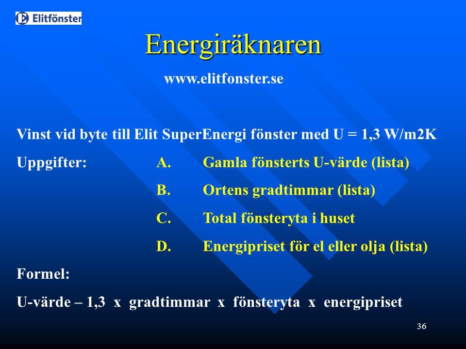 36 Energiräknaren www.elitfonster.se Vinst vid byte till Elit SuperEnergi fönster med U = 1,3 W/m2K Uppgifter:A.Gamla fönsterts U-värde (lista) B.Orte