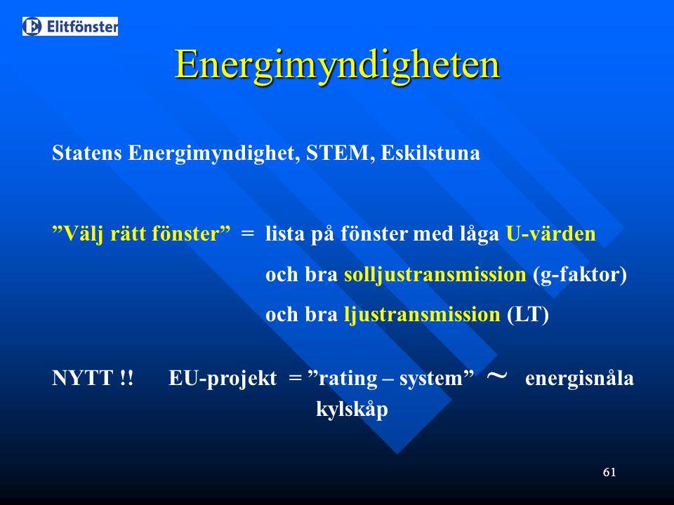 """61 Energimyndigheten Statens Energimyndighet, STEM, Eskilstuna """"Välj rätt fönster"""" = lista på fönster med låga U-värden och bra solljustransmission (g"""