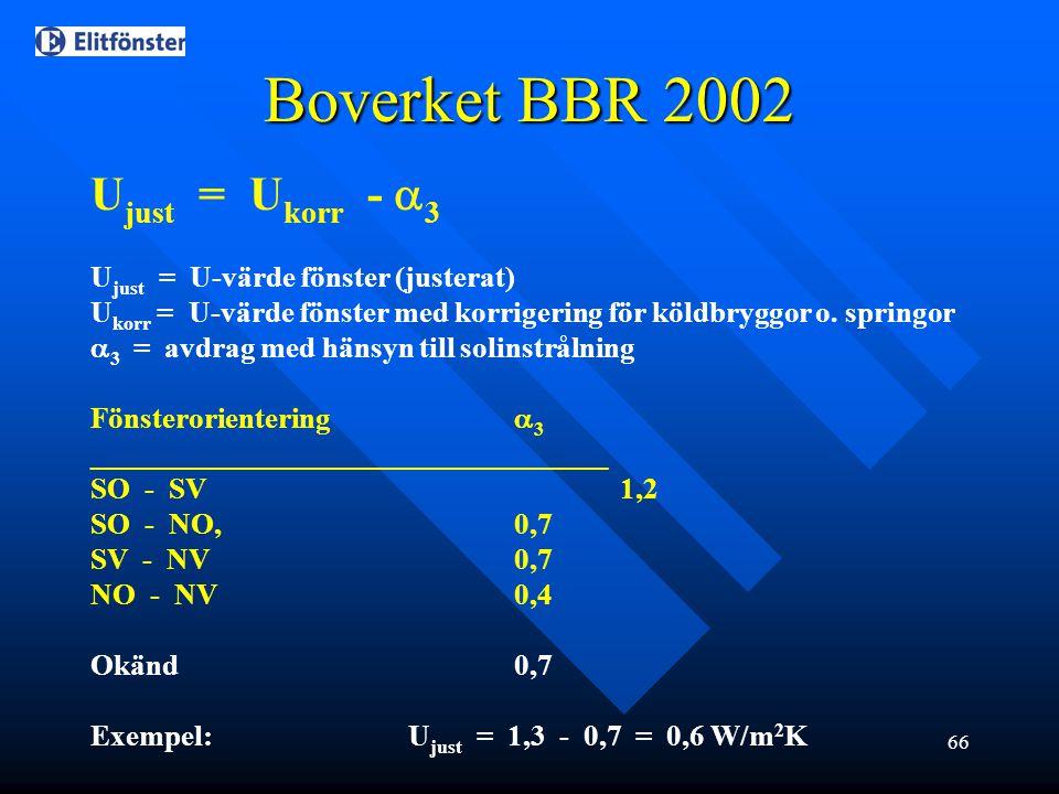 66 Boverket BBR 2002 U just = U korr -  3 U just = U-värde fönster (justerat) U korr = U-värde fönster med korrigering för köldbryggor o. springor 