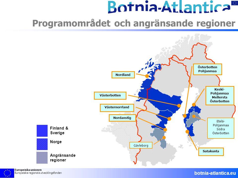 Finland & Sverige Norge Angränsande regioner Programområdet och angränsande regioner Etelä- Pohjanmaa Södra Österbotten Gävleborg Österbotten Pohjanma