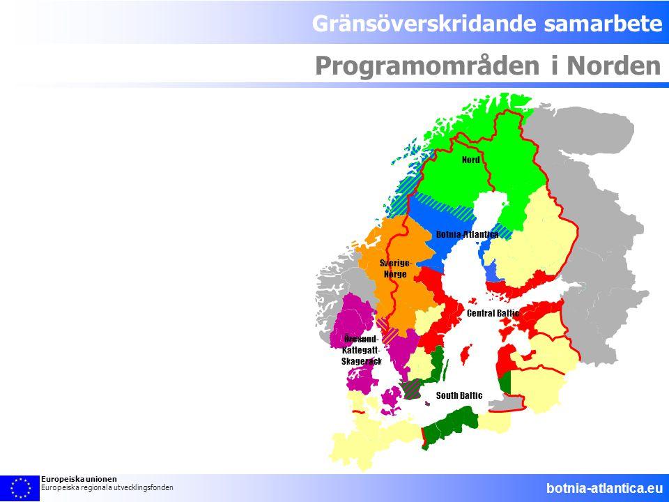 Gränsöverskridande samarbete Programområden i Norden Aust-Agder South Baltic Öresund- Kattegatt- Skagerack Sverige- Norge Nord Botnia-Atlantica Centra