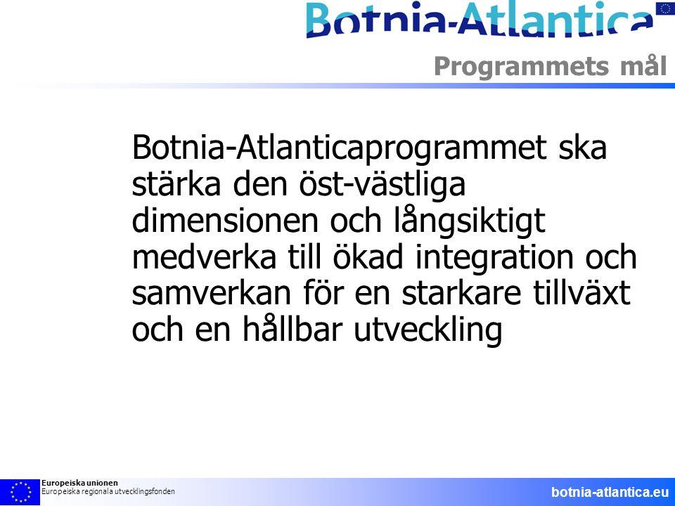 Botnia-Atlanticaprogrammet ska stärka den öst-västliga dimensionen och långsiktigt medverka till ökad integration och samverkan för en starkare tillvä