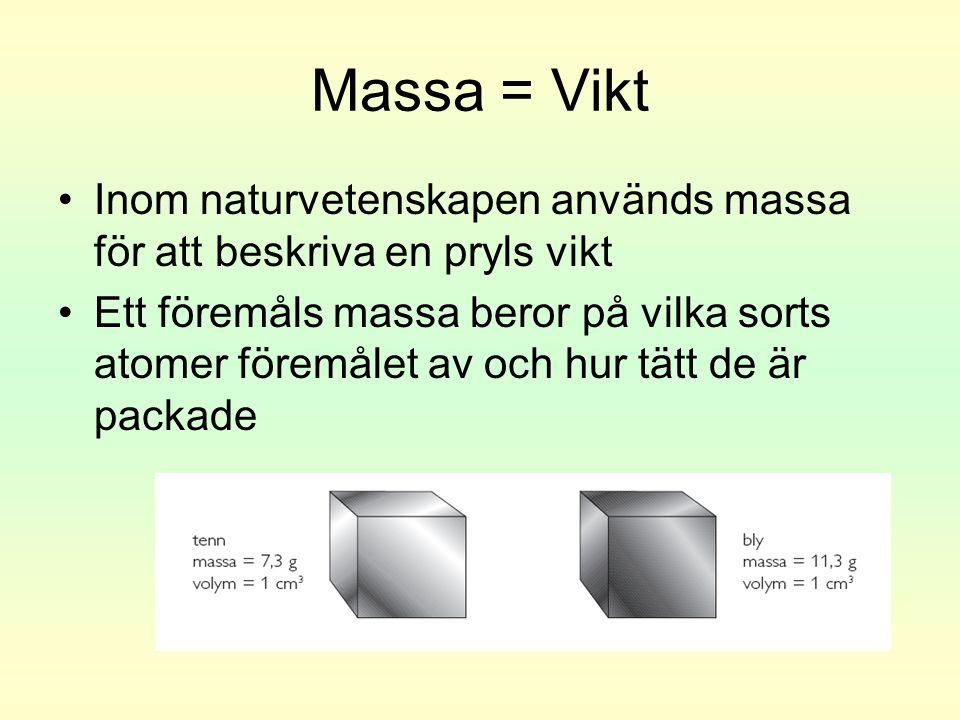 Massa = Vikt •Inom naturvetenskapen används massa för att beskriva en pryls vikt •Ett föremåls massa beror på vilka sorts atomer föremålet av och hur tätt de är packade