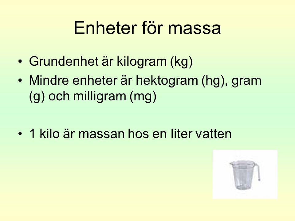 Enheter för massa •Grundenhet är kilogram (kg) •Mindre enheter är hektogram (hg), gram (g) och milligram (mg) •1 kilo är massan hos en liter vatten