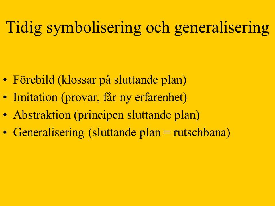 Tidig symbolisering och generalisering •Förebild (klossar på sluttande plan) •Imitation (provar, får ny erfarenhet) •Abstraktion (principen sluttande plan) •Generalisering (sluttande plan = rutschbana)