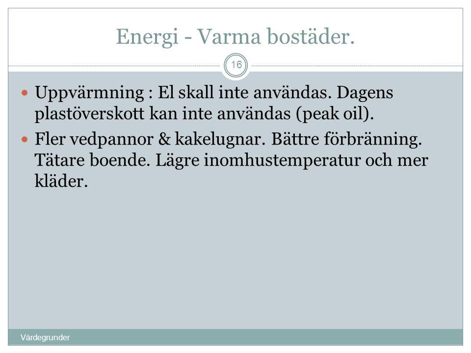 Energi - Varma bostäder. Värdegrunder 16  Uppvärmning : El skall inte användas. Dagens plastöverskott kan inte användas (peak oil).  Fler vedpannor