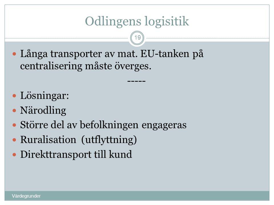 Odlingens logisitik Värdegrunder 19  Långa transporter av mat. EU-tanken på centralisering måste överges. -----  Lösningar:  Närodling  Större del