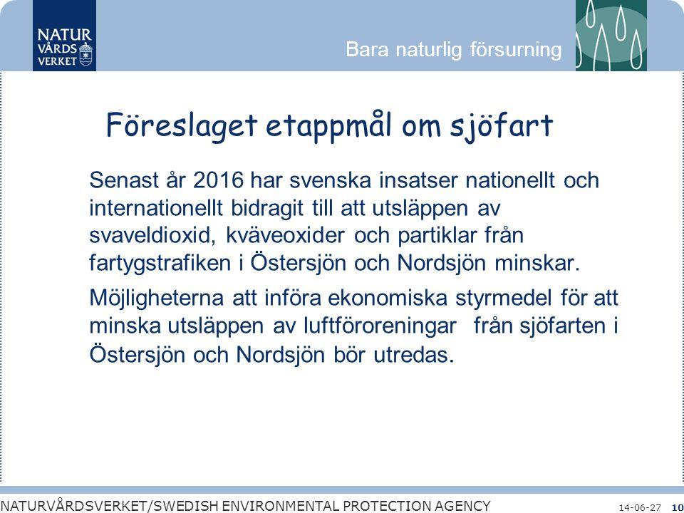 Bara naturlig försurning NATURVÅRDSVERKET/SWEDISH ENVIRONMENTAL PROTECTION AGENCY 14-06-2710 Föreslaget etappmål om sjöfart Senast år 2016 har svenska