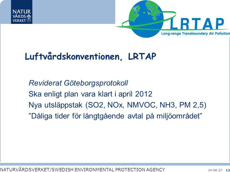 Bara naturlig försurning NATURVÅRDSVERKET/SWEDISH ENVIRONMENTAL PROTECTION AGENCY 14-06-2712 Luftvårdskonventionen, LRTAP Reviderat Göteborgsprotokoll