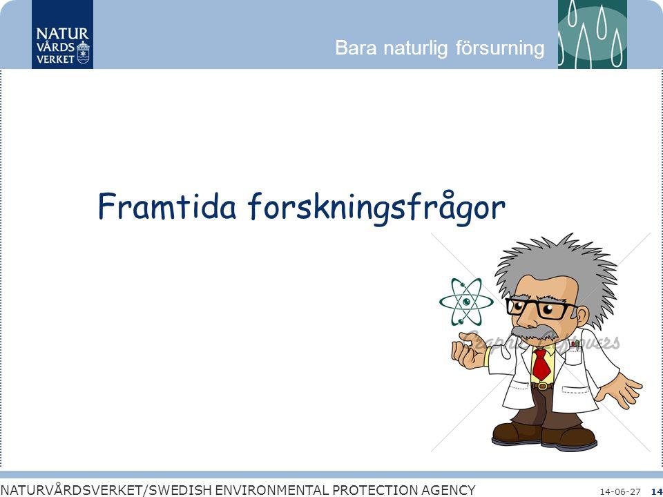 Bara naturlig försurning NATURVÅRDSVERKET/SWEDISH ENVIRONMENTAL PROTECTION AGENCY 14-06-2714 Framtida forskningsfrågor