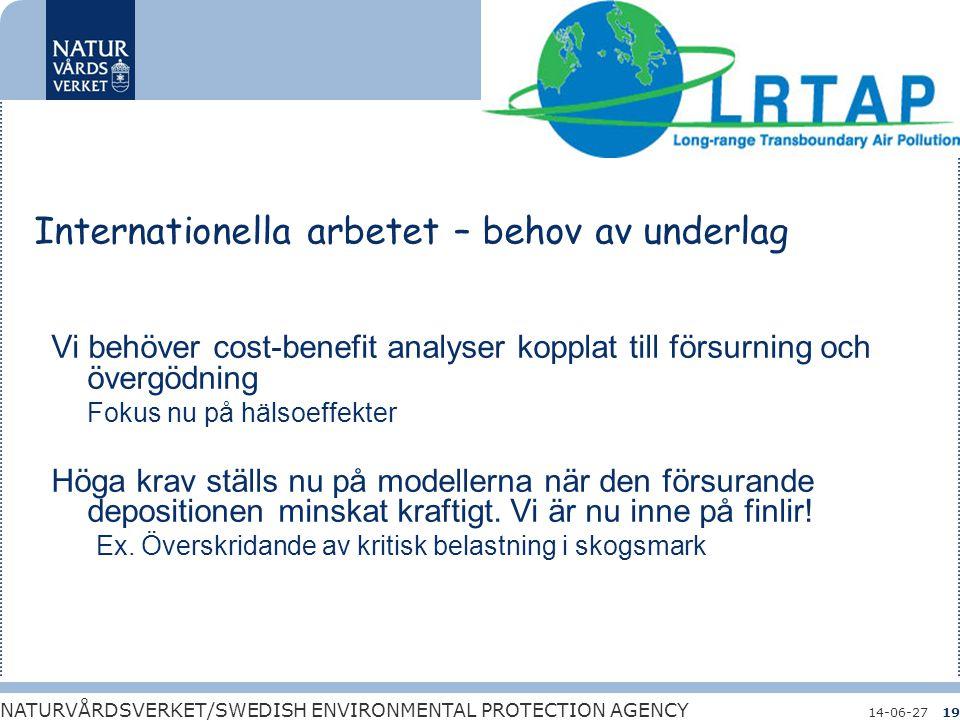 Bara naturlig försurning NATURVÅRDSVERKET/SWEDISH ENVIRONMENTAL PROTECTION AGENCY 14-06-2719 Internationella arbetet – behov av underlag Vi behöver co