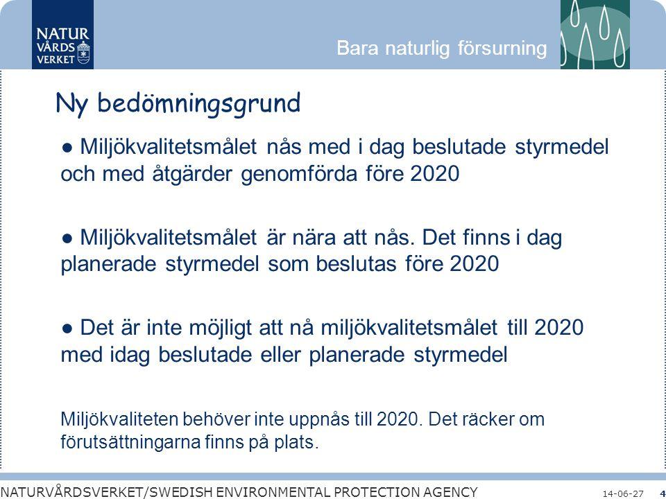 Bara naturlig försurning NATURVÅRDSVERKET/SWEDISH ENVIRONMENTAL PROTECTION AGENCY 14-06-274 Ny bedömningsgrund ● Miljökvalitetsmålet nås med i dag bes