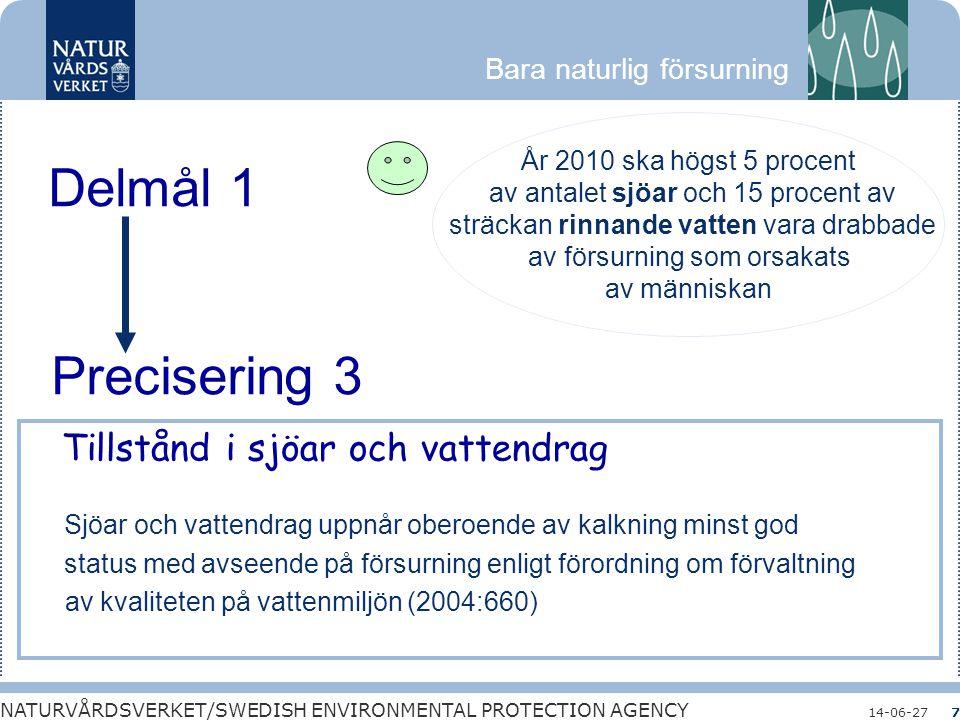 Bara naturlig försurning NATURVÅRDSVERKET/SWEDISH ENVIRONMENTAL PROTECTION AGENCY 14-06-277 Delmål 1 År 2010 ska högst 5 procent av antalet sjöar och